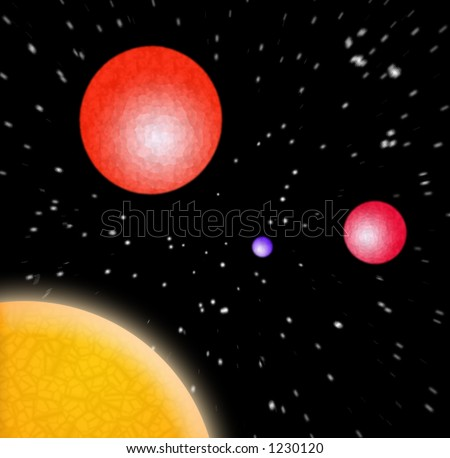 A 3d illustration of some planets in outer space.