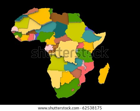 a 3d illustration of the africa map and countries