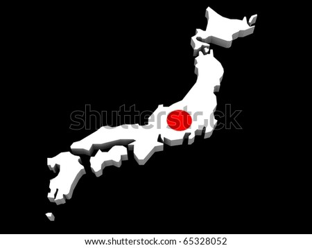 a 3d illustration of the japanese map and flag