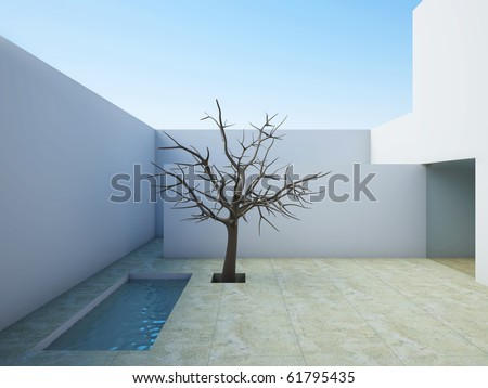 A 3D illustration of the modern patio with swimming pool and tree.