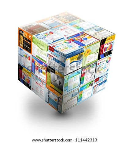 A 3d internet box is on an isolated white background. There are different website templates in a cube. Use it for a database or optimization concept.