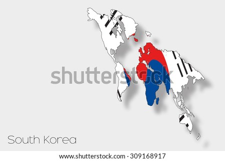 A 3D Isometric Flag Illustration of the country of  South Korea