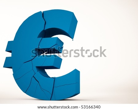 A 3d maded brocken euro symbol