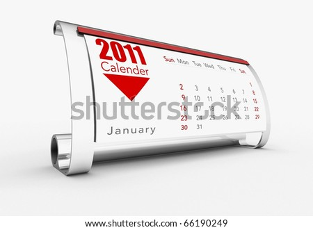 a 3d maded calendar for the year 2011