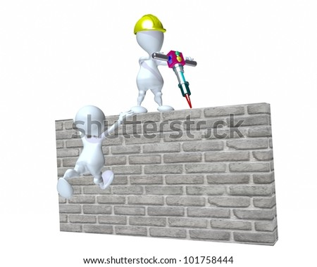 A 3d man climbing and using construction equipment on an obstacle wall