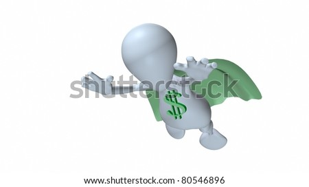 A 3d man flying with dollar symbol on his chest