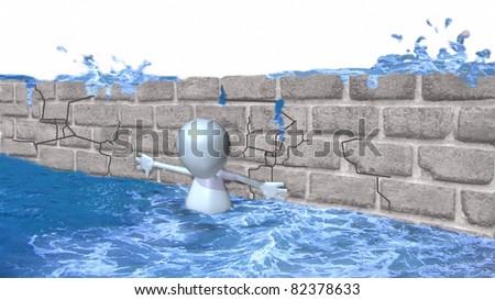 A 3d man holding back a dam