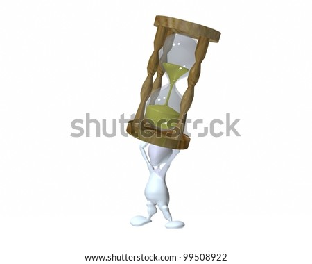 A 3d man holding up a hourglass