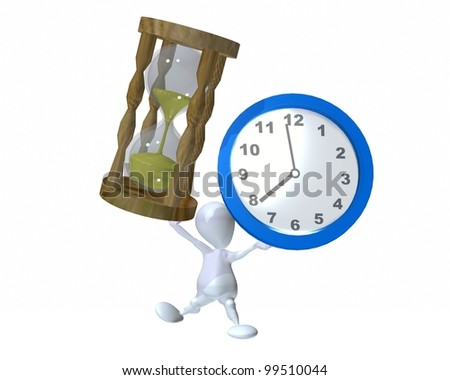 A 3d man holding up time - stock photo