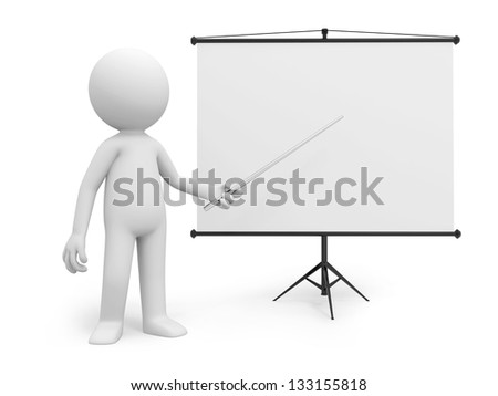 A 3d man introducing something at a projector