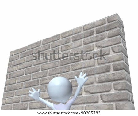 A 3d man looking up at tall wall