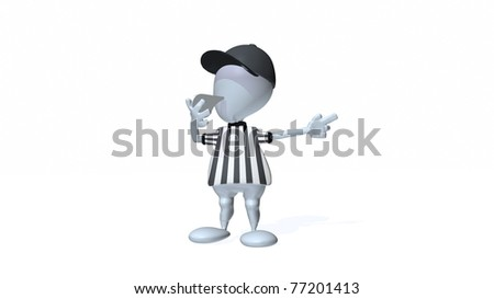 A 3d man referee making a call blowing his whistle. - stock photo