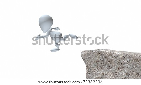 A 3d man running off cliff - stock photo