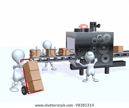 A 3d man supply chain factory assembly line