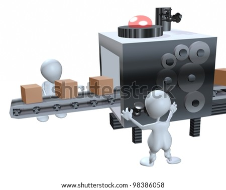 A 3d man worker assembly line