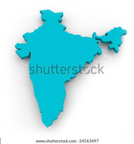 A 3d map of India on a white background