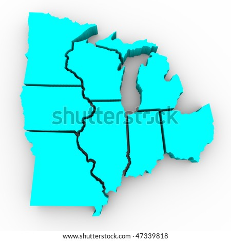 A 3d map of the Great Lakes region of states: Michigan, Ohio, Indiana, Illinois, Minnesota, Wisconsin, Iowa and Missouri