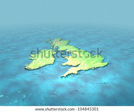 A 3D map of United Kingdom on the sea with contours