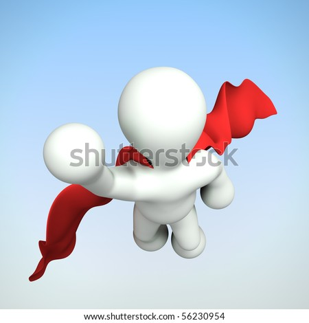 A 3d modeled super hero flying towards the camera with his cape flowing in the wind.