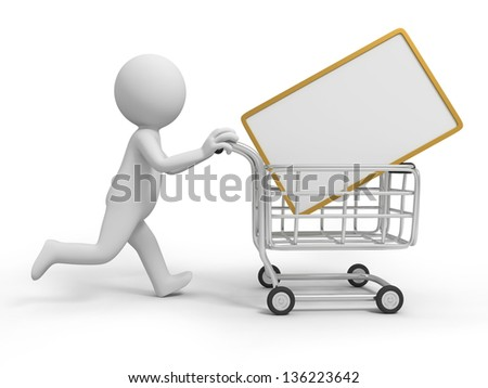 A 3d person/a message board in the shopping cart