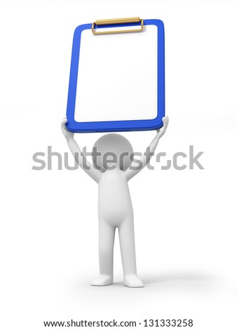 A 3d person holding a message board