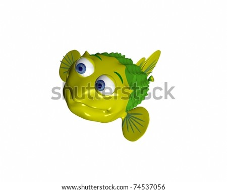 A 3d puffer fish character swimming