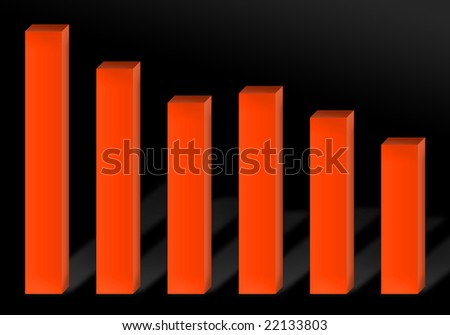 A 3d red bar chart illustration showing economic decline or recession.