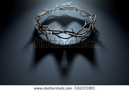 A 3D render concept of branches of thorns woven into a crown depicting the crucifixion casting a shadow of a royal crown on a dark background