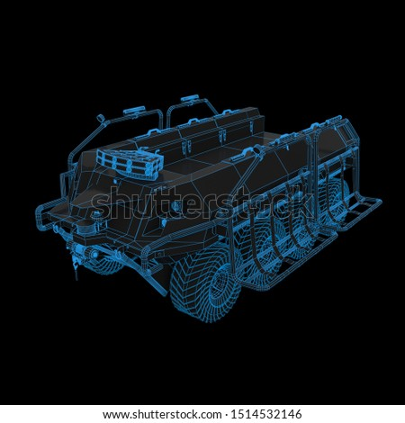 a 3D render futuristic wireframe of a Military UGV Unmanned Ground Vehicle