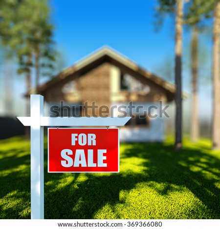 A 3D render illustration of Home For Sale sign in front of new chalet house. stock photo