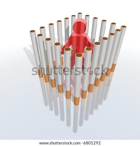 a 3d render of a cigarettes prisoner