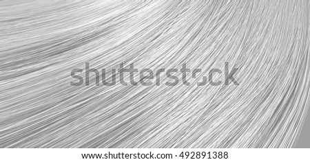 A 3D render of a closeup view of a bunch of shiny straight grey hair in a wavy curved style ストックフォト ©