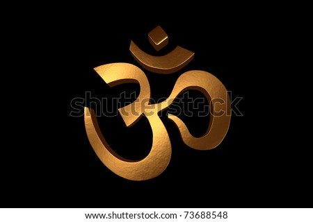 A 3d Render Of A Golden Om Symbol Isolated On A Black Background