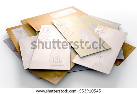 A 3D render of a scattered stack of regular envelopes with delivery stamps and a clear window on an isolated white background