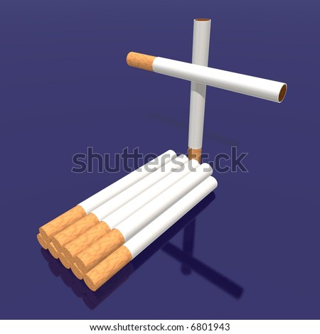 a 3d render of a tomb made with cigarettes Photo stock ©