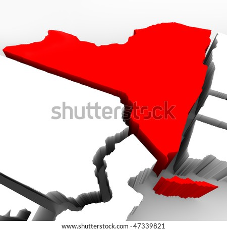 A 3d render of an abstract map of New York state