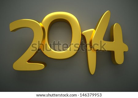 a 3D render of 2014 gold digits