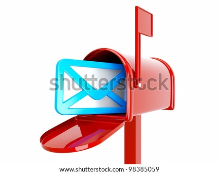 a 3d render of mailbox with envelop icon inside isolated on white - stock photo