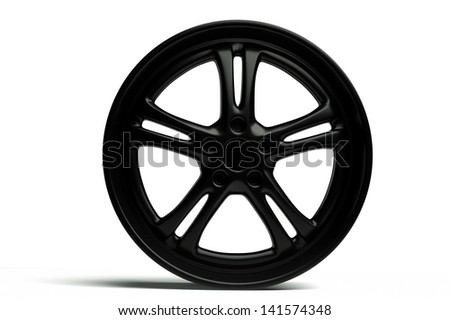 a 3d render of modern car wheel on white
