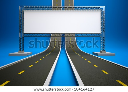 a 3d render of road up with billboard