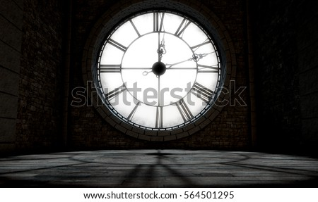 A 3D render of the interior of the attic room behind an antique tower clock backlit and illuminated by the sun