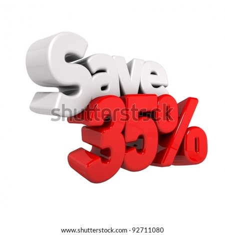A 3d render of thirty-five percent price reduction and save in text and numbers angled obliquely isolated on white
