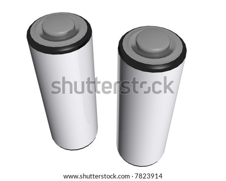 A 3d render of two AA batterys isolated on a white background.