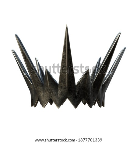 A 3D rendered dark fantasy iron crown with spikes isolated on a white background. 3D model