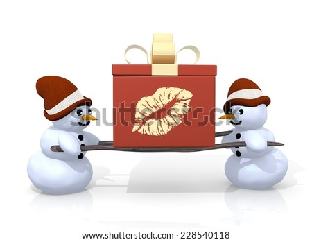 A 3d Rendered Gift With A Kiss Symbol Printed On It Is Carried By