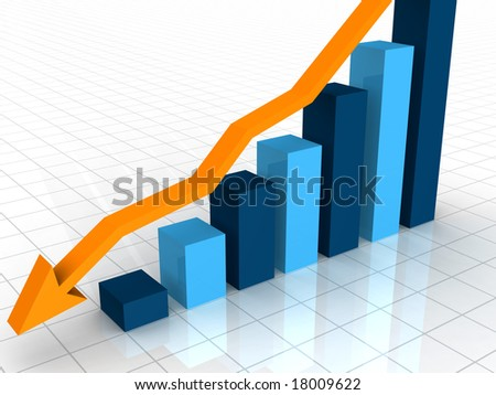 A 3D rendered illustration of a bar graph on a white background showing a decline with a ornage arrow point downward