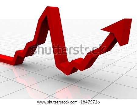 A 3D rendered illustration of a bar graph on a white background showing a market crash followed by a recovery