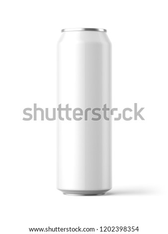A 3d rendered illustration of a plain white 568ml aluminium can casting a shadow onto a white background. Stockfoto ©