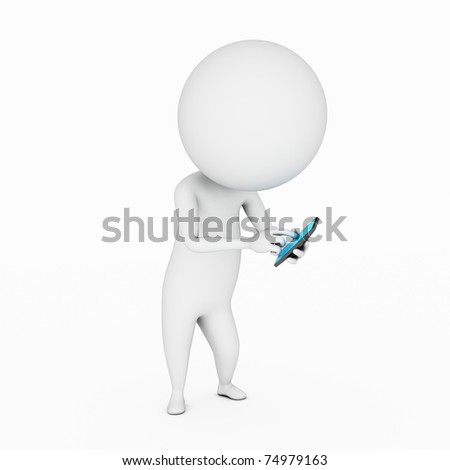 a 3d rendered illustration of a small guy with his touch phone