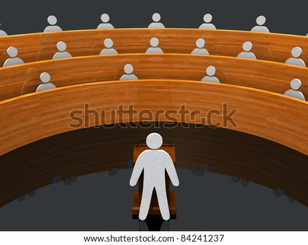 A 3D rendered image of a presentation with the presenter and his audience.